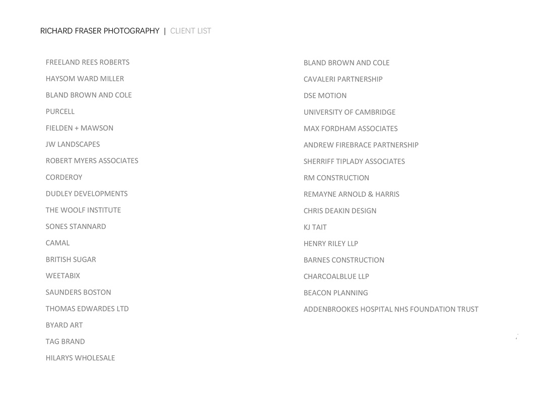 Richard Fraser photography's list of clients.